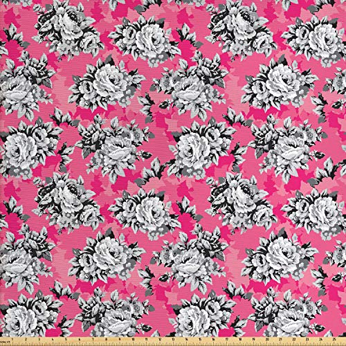 Ambesonne Peony Fabric by The Yard, Greyscale Flower Chintz Rose Print on Vivid Tone Background, Decorative Fabric for Upholstery and Home Accents, 1 Yard, Hot Pink Pastel Pink