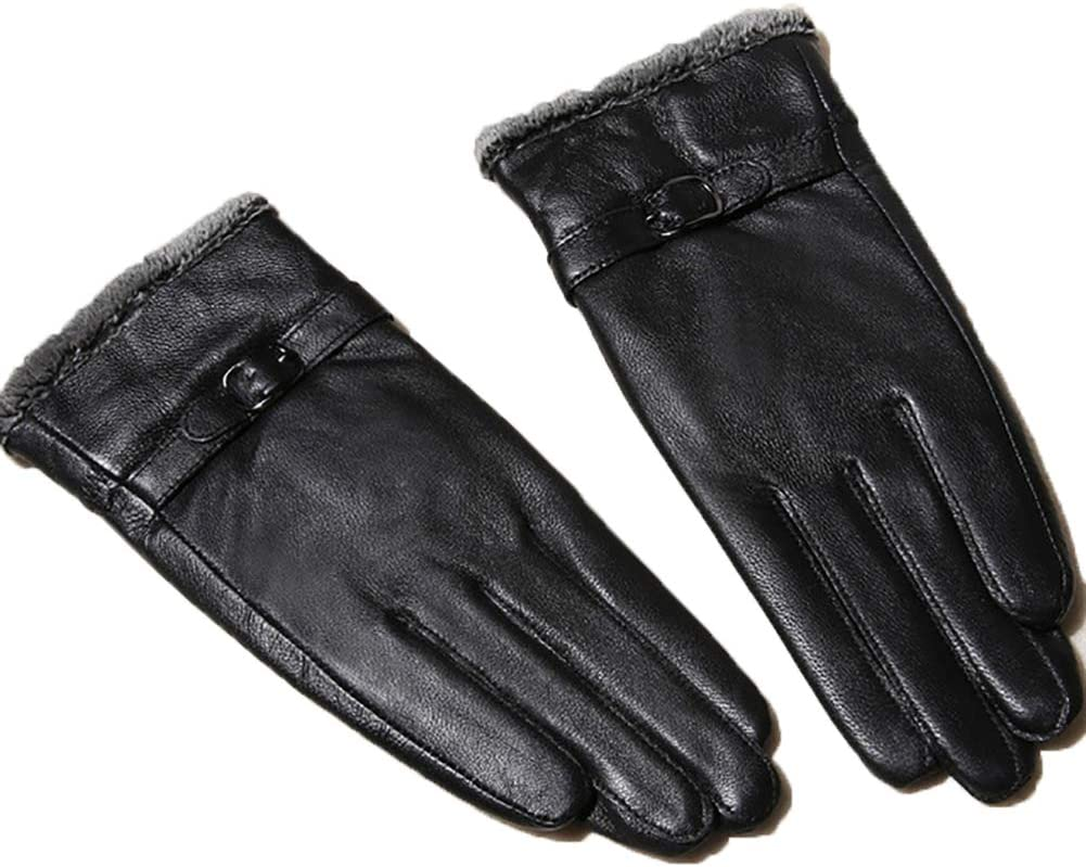 Genuine Leather Gloves Winter Warm Wool Lining Mittens Manufactured from Genuine Leather Gloves,B