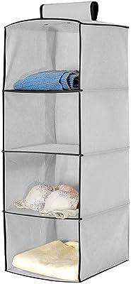 Seven Moon Hanging Storage Wardrobe/Closet Storage Organizer Shelves Foldable,Grey (4 Layer)