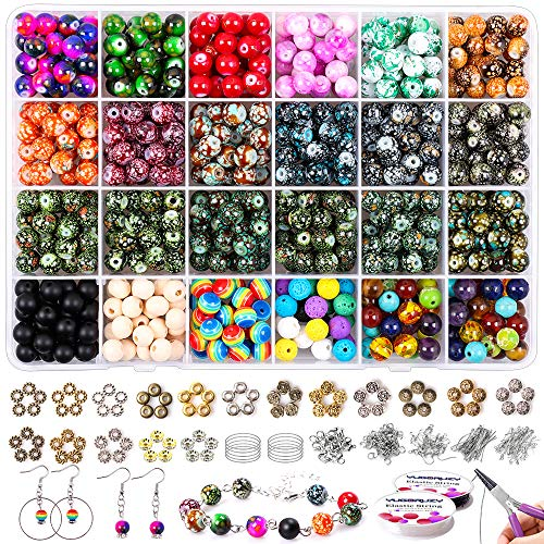 1581PCS 8mm Round Acrylic Glass Gemstone Decorative Pattern Beads Supplies Kit with Wood Chakra Lava Bead,Jewelry Spacer Pliers,Findings,Charm and 2 Crystal String for DIY Jewelry Making Adults