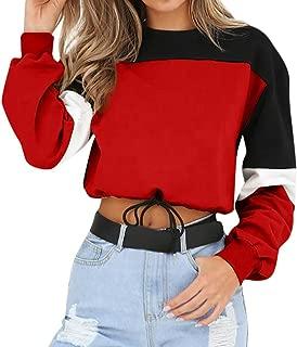 Women Color Block Splice Pullover Vintage Long Sleeve Sweatshirt Crop Top Blouse