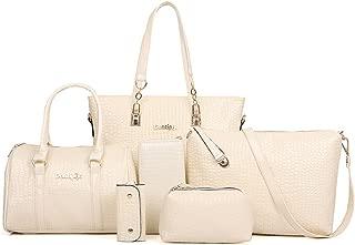FiveloveTwo 6 Pieces Handbag Set Clutch Top Handle Totes Satchels Crossbody Bag