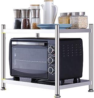 ZXZJ Grille de micro-ondes de cuisine, étagère du four du sol au plafond, étagère de rangement domestique, matériau en aci...