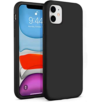 BEBEN Liquid Silicone Case Compatible with iPhone 11 Case, Gel Rubber Full Body Protection Shockproof Cover Case Drop Protection Case for Apple iPhone 11 6.1 inch (Black)