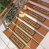 [Set of 7] Brown Floral Stair Tread Rugs | Modern...