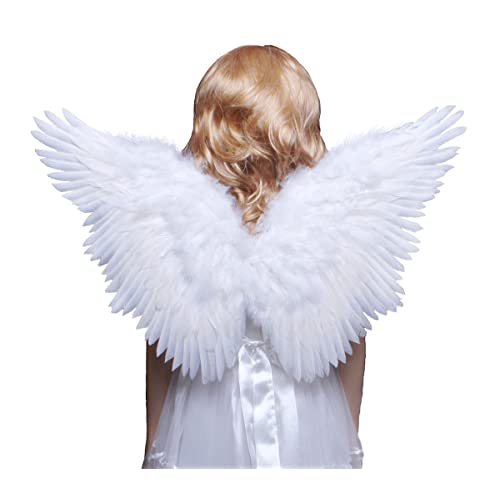 01bc771bffee FashionWings (TM Children's White Butterfly Style Costume Feather Angel  Wings Halo
