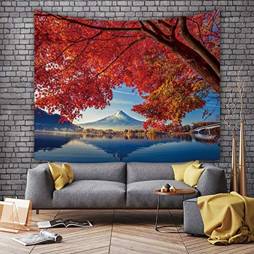 KHKJ Tapiz de Paisaje de montaña de Nieve Bosque Verde Hermoso Dormitorio decoración Tela de Fondo decoración 3D Tapiz de habitación A2 230 * 180 cm