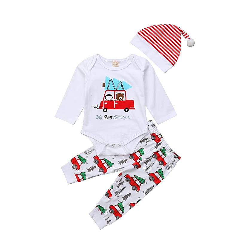 MISOWN Newborn Baby Boys Girls Outfit Unisex Romper+ Pants+ Hat Baby Clothes Outfit