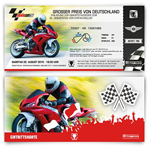 Einladungskarten zum Geburtstag (30 Stück) als Motorrad Rennen Ticket Moto Bike Rad