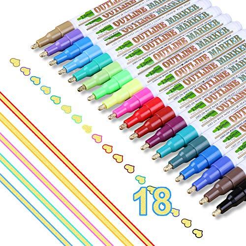 Supersun 18 Farben Magische Stifte Outline Stifte, Double Line Wasserfester Stifte für Geschenkkarten, Fotoalbum zum Selbstgestalten, DIY Karte Gästebuch, Grußkarten, Graffiti