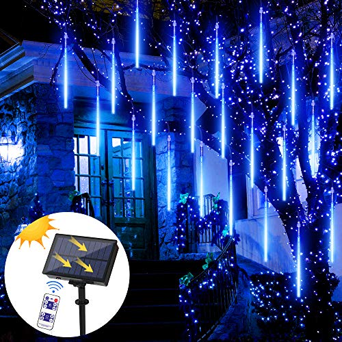 LED Meteorschauer Lichter, Meteorschauer Regen Lichterkette für Draußen Innen Party Weihnachten Dekor (Blau)