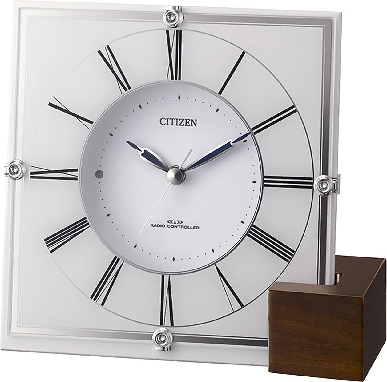 苦いポルトガル語排除するシチズン 掛け時計 電波 アナログ マリアージュ707 置き掛け兼用 木製台座 白 CITIZEN 4RY707-003
