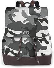SGSKJ Rucksack Damen Graue Tarnung Camouflage, Leder Rucksack Damen 13 Inch Laptop Rucksack Frauen Leder Schultasche Casual Daypack Schulrucksäcke Tasche Schulranzen