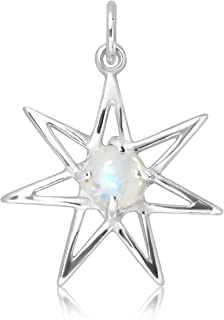 WithLoveSilver 925 Sterling Silver Morning Fairy Star Moon Natural Moonstone Pendant