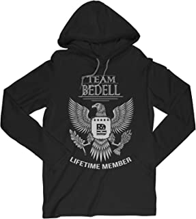 Team Bedell Lifetime Member Family Surname Long Sleeve Hooded T-Shirt for Families with The Bedell Last Name