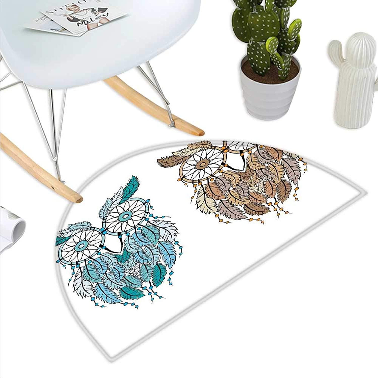 Owl Semicircle Doormat Dreamcatcher Style Owl Tribal Ethnic Features Magic Farsighted Birds Artsy Print Halfmoon doormats H 39.3  xD 59  Cream White Teal
