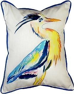 """Betsy Drake SN328 Vertical Heron Pillow, 11"""" x14"""""""