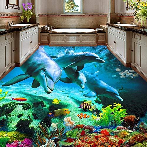 Pegatina de suelo 3D personalizada, inodoros de delfines Ocean World, baño, dormitorio, vinilo, suelo, Mural, PVC, papel tapiz impermeable, pintura moderna-200x140cm