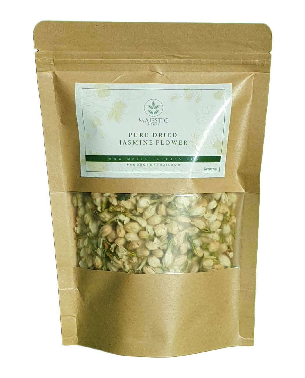 Dried Edible Jasmine Flower Buds by Majestic Herbs | 100% Natural Additive-Free Non-GMO | For Fragrant Herbal Teas and Tisanes, Soap Making, Bath Bombs and Handicraft | 50g (1.75oz)