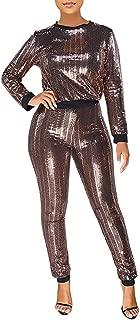 ECHOINE Womens Sexy Bodycon Glitter Jumpsuit - Sparkly See Through Drawstring One Piece Romper Playsuit Clubwear