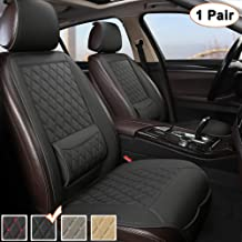 Black Panther 1 Pair Luxury PU Leather Front Car Seat Covers Protectors Pads with Lumbar Supports, Universal Fit 95% Vehicles - Black