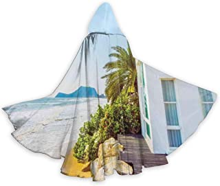 Adult Hooded Halloween Cloak Costumes Party Cape,Coastal Charm Themed Beach House Porch View Moroccan Style Architecture Island Artsy Print