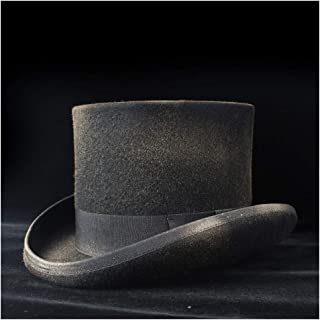 SHENTIANWEI 4Size 100% Wool Women Men Black Steampunk Top Hat with Spray Paint Fedora Mad Hatter Magic Show Caps