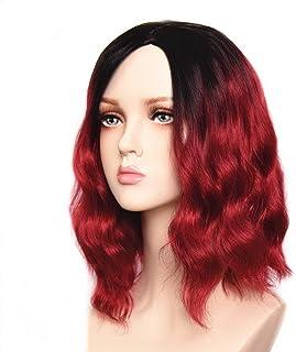 Feilimei Synthetic Ombre Blue Wig for Women Heat Resistant Long Wavy Femal Full Wigs (RED)