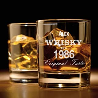 Smyla Whiskyglas mit Gravur Original-Design | Whiskey-Glas mit massivem Boden personalisierbar mit Namen und Datum | Individuelle Geschenkidee für wahre Geniesser