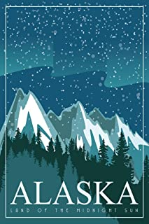 Alaska Land of The Midnight Sun Retro Travel Art Cool Wall Decor Art Print Poster 24x36