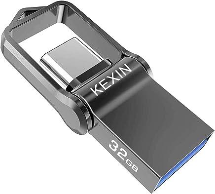 KEXIN 32GB Memoria USB Tipo C y USB 3.0 OTG Flash Drive Impermeable 2 en 1 Memory Stick para Portátil, Teléfono y Otras Dispositivos USB o Tipo C [Resistente al Agua]
