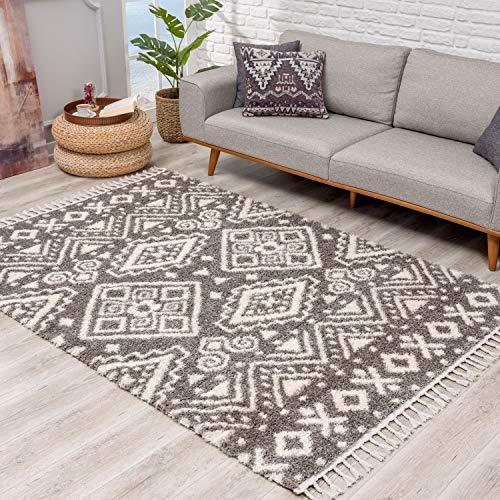 Teppich Hochflor Wohnzimmer - Ethno Geo Design 80x250 cm Grau Creme - Teppich-Läufer mit Fransen