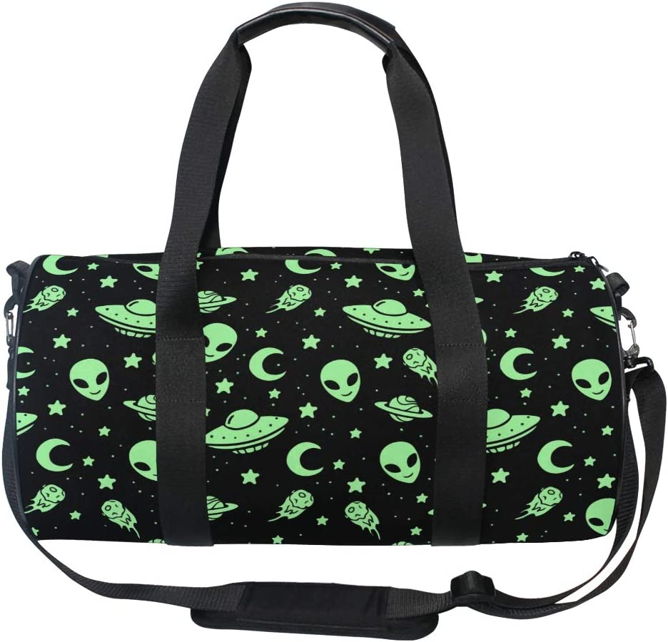 MUOOUM Green Alien UFO Moon Sports Travel Duffel Gym San Now free shipping Antonio Mall for Bag