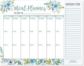 Teal Floral Weekly Meal Planning Calendar Grocery Shopping List Magnet Pad for Fridge, Magnetic Family Pantry Food Menu Board Organizer, Week Diet Prep Planner Tool, Refrigerator Eat Dinner Notepad