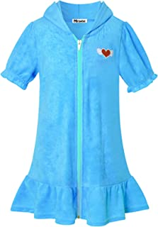 Mirawise Swim Cover Up for Girls Terry Swimsuit Coverup Hooded Zip Beach Bathrobe with Pockets
