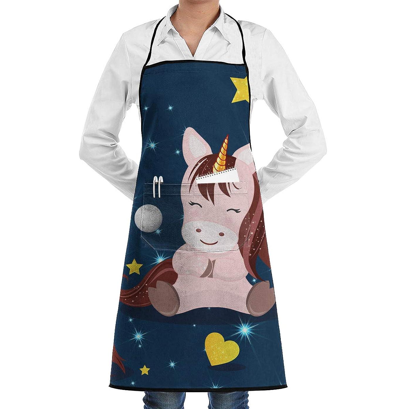 Kitchen Chef Bib Apron Cartoon Unicorn Neck Waist Tie Center Kangaroo Pocket Waterproof