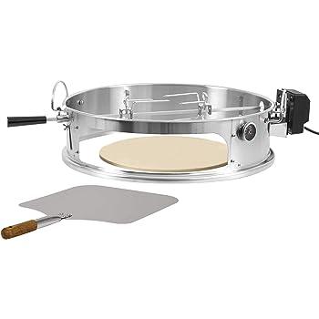 BBQ-Toro Set Pizza ring in acciaio inox con girarrosto | Inserto per pizza e girarrosto per un grill tondo da 57 cm Ø | Motore ed elemento pizza incluso pala, pietra refrattaria e termometro