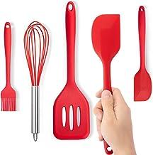 【5 in 1】Kitchen Utensil Set, Silicone Heat-Resistant Non-Stick Kitchen Utensils Cooking Tools,Pasta Fork,Spoonula,Tong,Slo...