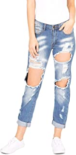Machine Jeans Women's Juniors Mid Waist Heavy Distressed Mom Jeans