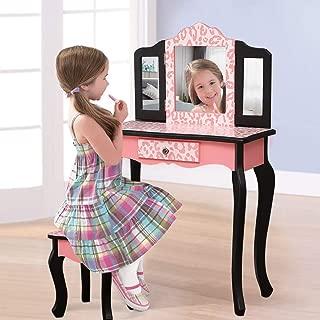 SSLine Kids Vanity Wooden Makeup Table and Chair Set for Girls Princess Pink Leopard Print Child Vanity Desk Three-Fold Mirror Dresser with Drawer - Pink/Black
