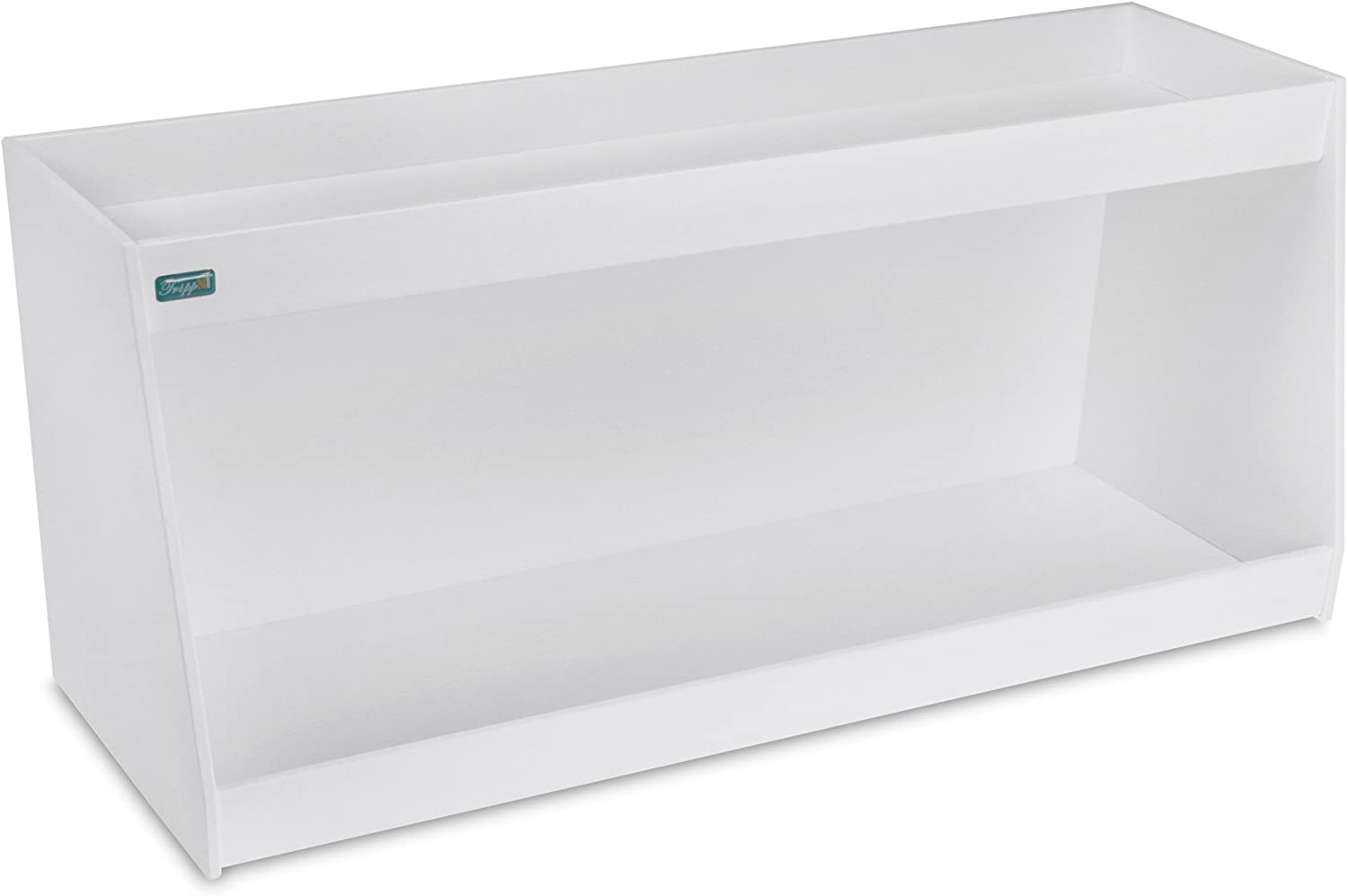 TrippNT 50480 PVC Angled Double Safety Shelves, 24-Inch Width x 10-Inch Height x 9-Inch Depth, White