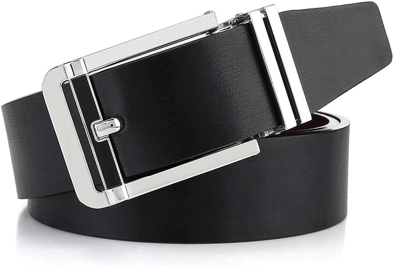 Men's Leather Belt Zinc Alloy Pin Buckle Double-Sided Belt +A (color   Black, Size   120CM)