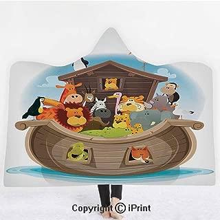 """Noahs Ark 3D Print Soft Hooded Blanket Boys Girls Premium Throw Blanket,Various Animals Inside Noahs Ark Lion Elephant Giraffe Monkey Zebra Ocean Image,Lightweight Microfiber(Kids 50""""x60"""") Multicolor"""