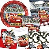 101-teiliges Set * CARS III * mit Teller + Servietten + Becher + Tischdecke + Partytüten + Einladungen + Luftballons und Luftschlangen für Kindergeburtstag // Party Deko Dekoration Kinder Geburtstag Mottoparty Disney