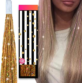 Hair Tinsel accessories kit for girls - HAIR DAZZLE - 100 Glitter Strands of Holographic Fairy Extensions, Professional Salon Quality, Add Shimmer & Sparkle - GOLD - For Girls Age 8,9,10, teenagers +