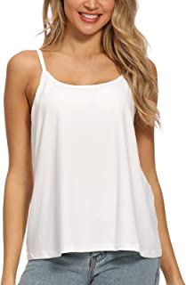 MS.ING Women Flowy Pleated Camisole with Built in Bra Loose Casual Sleeveless Tank Tops