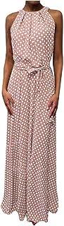 JUTOO Frauen Casual Sommerkleid Boho Dot Printing ärmelloses Strandkleid Sommerkleid