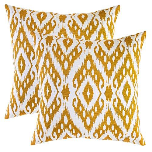 TreeWool - Pack de 2 - Ikat Ogee Diamante Acento Decorativo Fundas de cojín, 100% algodón (45 x 45 cm / 18 x 18 Pulgadas, Mostaza)