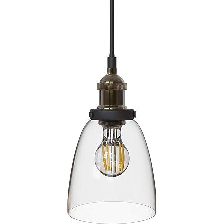 B.K. Licht suspension verre design industriel, plafonnier vintage, luminaire intérieur cuisine salon salle à manger, restaurant bar comptoir, Ø 140 mm, E27, max. 60W, IP20