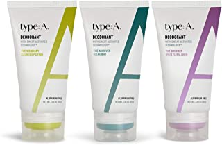 type:A Deodorant - Aluminum Free Deodorant for Men with Sweat-Activated Technology, Natural Active Ingredients, Non-irritating, No Stains, Travel-Friendly (TRIO Citron, Mint & Floral)